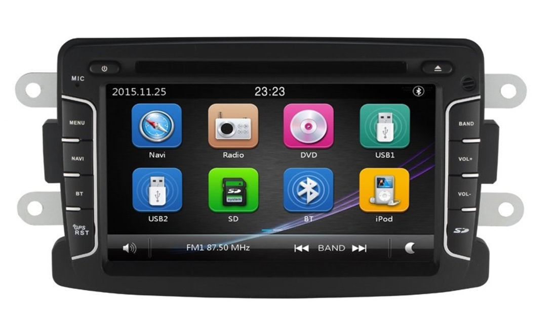 Navigatie Gps Dacia Logan Duster Sandero Logdy Dokker Renault , Windows 6.0 , Dvd Player , Usb , Bluetooth , Card 8GB Europa full