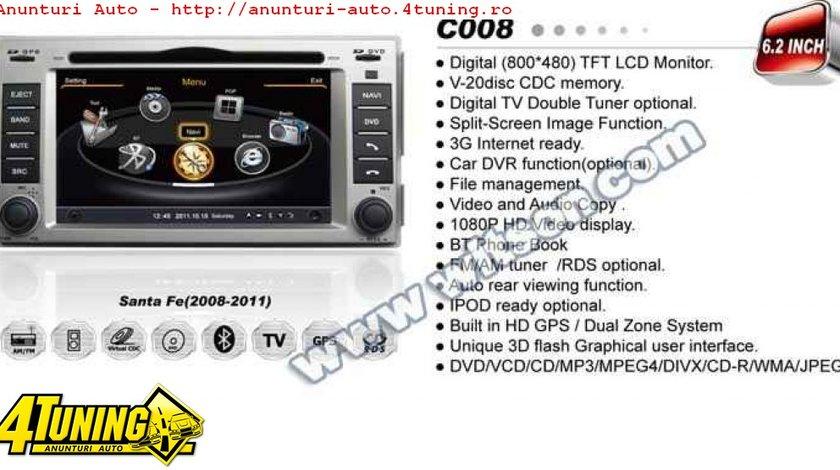 Navigatie WITSON W2 C008 Dedicata Hyundai Santa Fe Dvd Auto Gps Procesor 1ghz Navd C008 PLATFORMA S100 512 DDR 2 INTERNET 3G WIFI DVD GPS TV DVR CARKIT PRELUARE AGENDA TELEFONICA