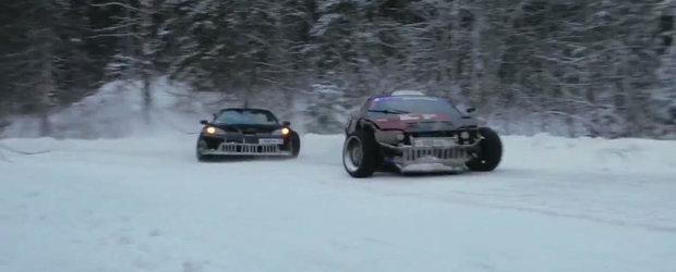 Nebunie e putin spus! Ce se intampla atunci cand doi drifteri rusi ies cu masinile in zapada