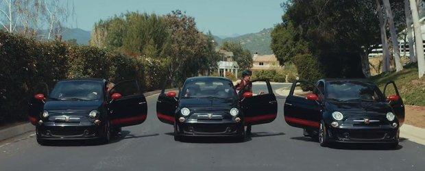 Nebunie parkour cu un Fiat 500 Abarth