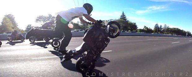 Nebunie totala cu motociclete pe strazile din Los Angeles
