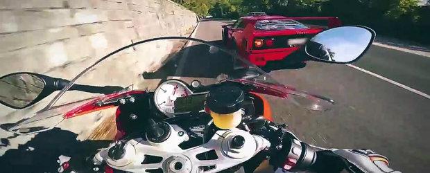Nebunul cu BMW S1000RR are partener de joaca: un alt nebun cu Ferrari F40