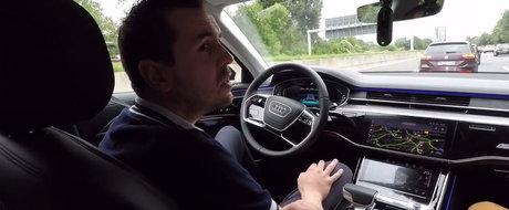 Nemtii de la Audi au scos pe strazi noul A8. L-au lasat sa se conduca de unul singur si au filmat TOTUL