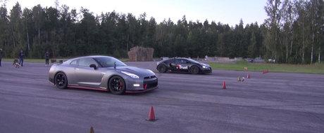 Nicio surpriza aici: batranul Veyron mananca de viu un Nissan GT-R Nismo