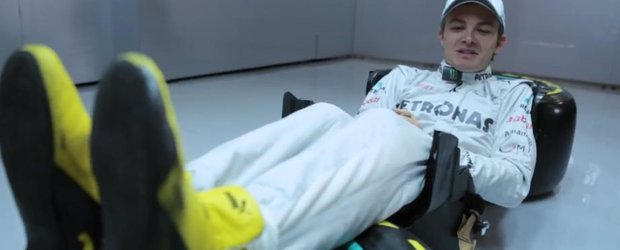 Nico Rosberg ne arata pozitia la volan a unui pilot de Formula 1