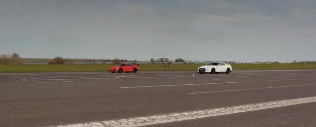 Nissan-ul GT-R provocat la o cursa in linie dreapta de un Porsche 911 GT3 RS. Pe cine pariati?