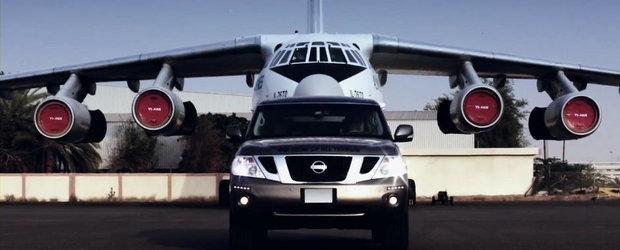 Nou record mondial: Un Nissan Patrol trage dupa el un avion de 170 de tone