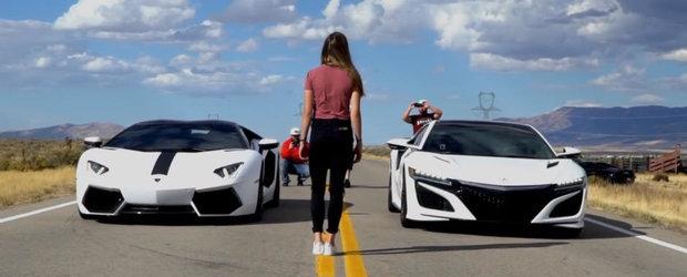 Noua Acura NSX este pe drumul cel bun. Pentru inceput, face de ras Lamborghini-ul Aventador in linie dreapta