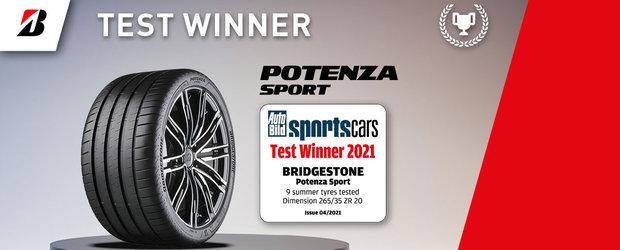 """""""Noua anvelopa sportiva de top"""" Bridgestone Potenza Sport a fost numita castigatoarea testului Autobild pentru anvelope sportive 2021"""