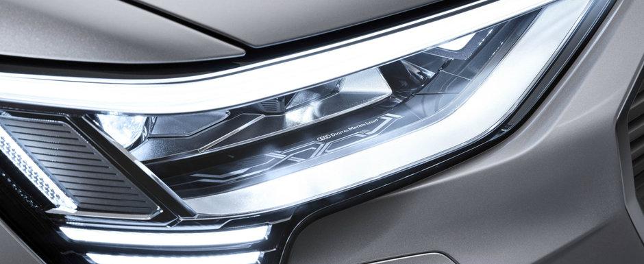 Noua masina de serie de la Audi e la ani lumina in fata rivalilor: are faruri care proiecteaza animatii pe asfalt
