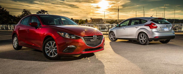 Noua Mazda3 provoaca la duel ultimul Ford Focus. Dar cine castiga oare?