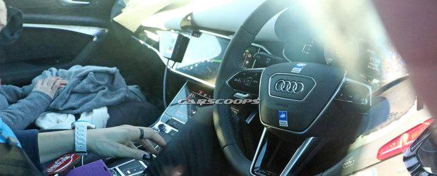 Noul Audi A6, surprins cu interiorul la vedere. Uite cum arata bordul modelului care concureaza cu BMW Seria 5