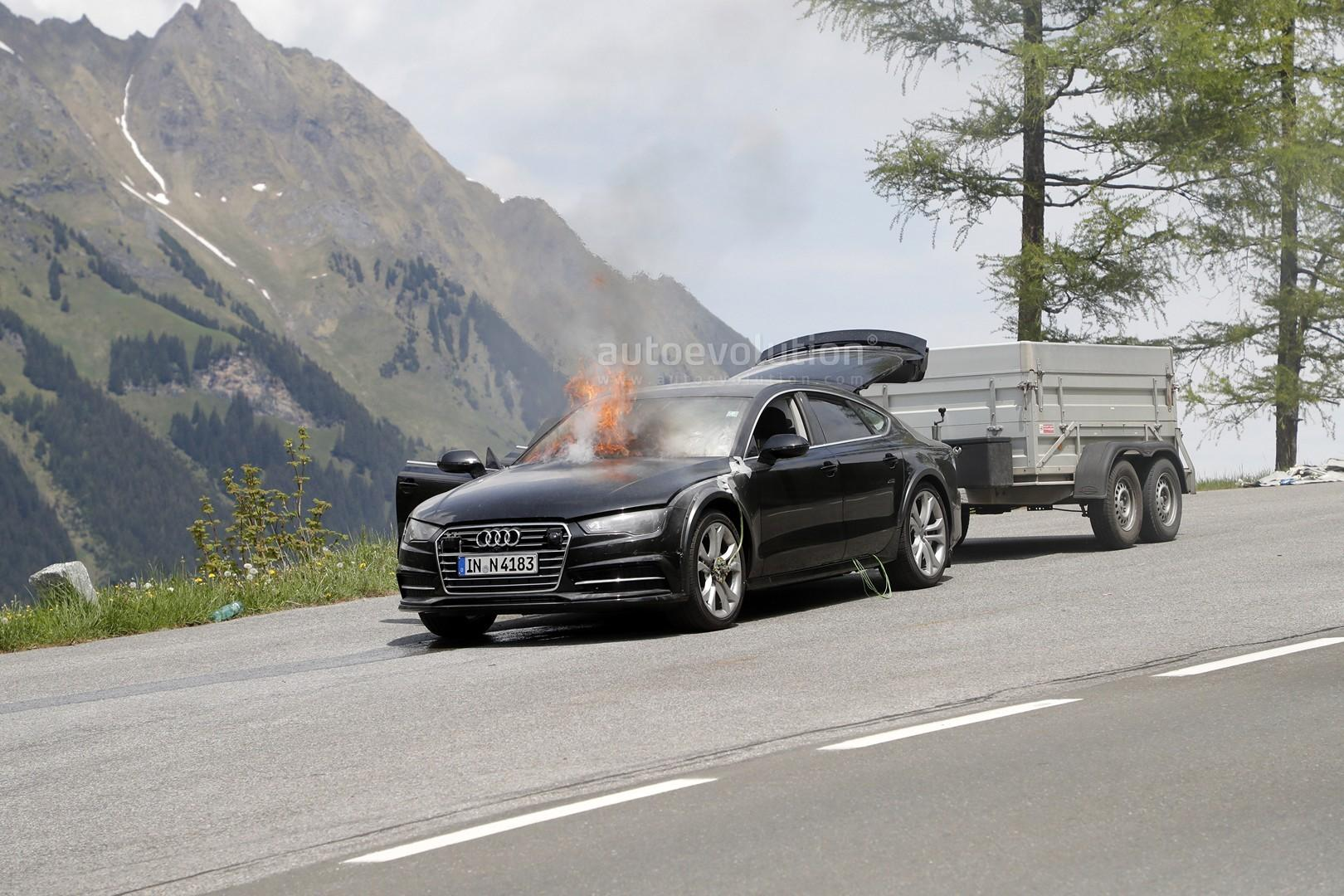 Noul Audi A7 a luat foc in teste - Noul Audi A7 a luat foc in teste