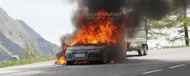 Noul Audi A7 s-a facut scrum inainte chiar de a fi lansat. Mai multe elemente de caroserie s-au topit pur si simplu