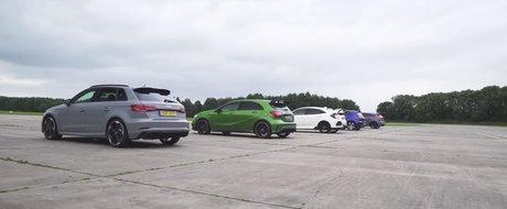 NOUL AUDI RS3 BATE TOT! Liniuta cu Mercedes A45, Focus RS, Golf R si Civic Type R