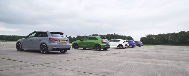 NOUL AUDI RS3 BATE TOT! Liniuta cu Mercedes A45, Focus RS, Golf R si Civic Type R