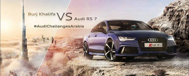 Noul Audi RS7 se ia la intrecere cu... cel mai rapid lift al planetei