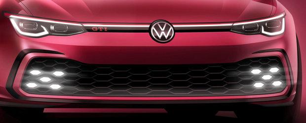 """Noul Golf GTI isi arata fata in primul teaser oficial. Nemtii promit ca """"puterea motorului va depasi asteptarile"""""""