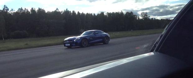 Noul Mercedes AMG GT S isi incearca sansele impotriva unui... Bugatti Veyron