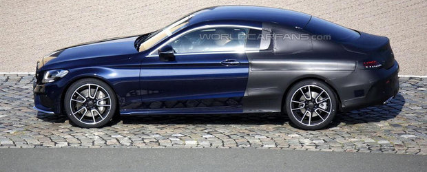Noul Mercedes C-Class Coupe iese partial necamuflat pe strazile Europei