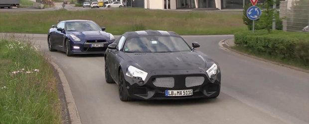 Noul Mercedes SLC AMG, surprins in teste alaturi de japonezul Nissan GT-R