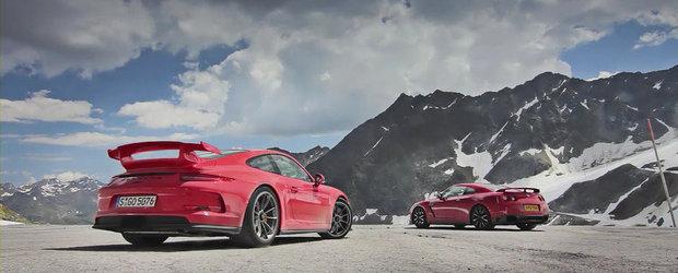 Noul Porsche 911 GT3 se ia la intrecere cu MP4-12C, provoaca la duel si ultimul GT-R