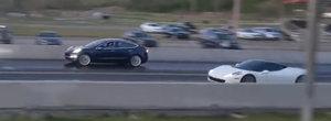 Nu-ti trebuie cel mai scump TESLA ca sa faci de rusine un Ferrari. Merge si cu un MODEL 3 Performance
