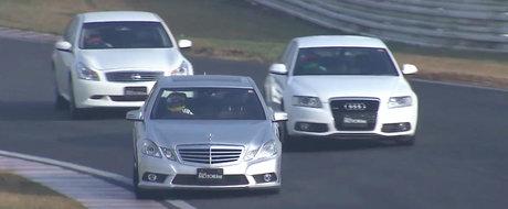 O cursa pe circuit intre Seria 3, A6 si E-Class e ceva ce ai crezut ca nu vei vedea niciodata, dar exista!