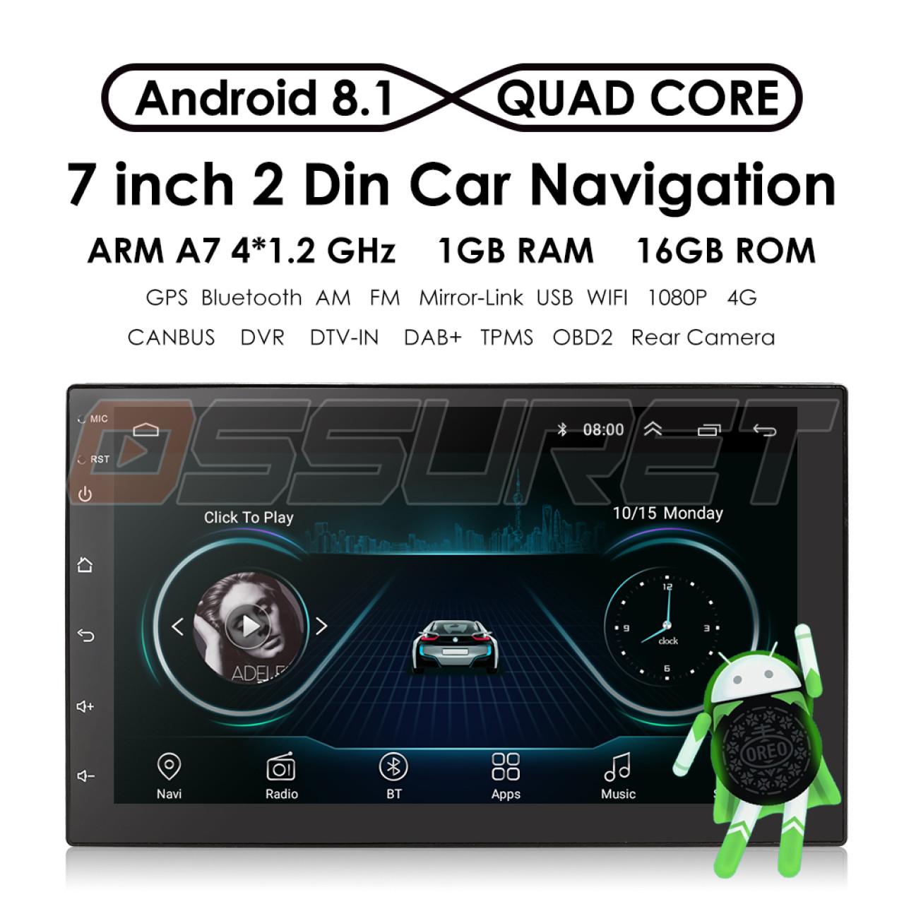 OFERTA!!!NAVIGATIE CARPAD 2DIN UNIVERSALA ANDROID 8.1 ECRAN 7'' CAPACITIV USB INTERNET WIFI GPS WAZE