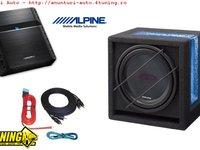Pachet Bass Subwoofer Alpine Sbg 1244br 800w 250w Rms Amplificator Alpine Pmx T320 2 Canale 320w Kit Cabluri Cadou