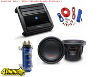 Pachet Bass Subwoofer Alpine SWR 1043D 1600W Amplificator Alpine MRX M55 Condensator Pyramid 1 6F Kit Cabluri Cadou