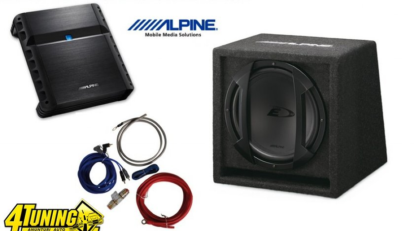 Pachet Bass Subwoofer Auto Alpine Sbe 1044br 500w 10inch Amplificator Alpine Pmx T320 2 Canale 320w Kit Cabluri Cadou