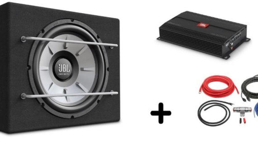 Pachet Bass Subwoofer Auto JBL STAGE 1200B 250W + Amplificator Mono JBL Stage A3001 + Kit Cabluri