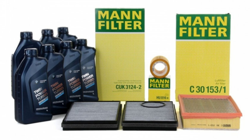 Pachet Revizie Filtru Aer + Polen + Ulei Mann Filter + Ulei Motor Bmw Twin Power Turbo 5W-30 7L Bmw Seria 7