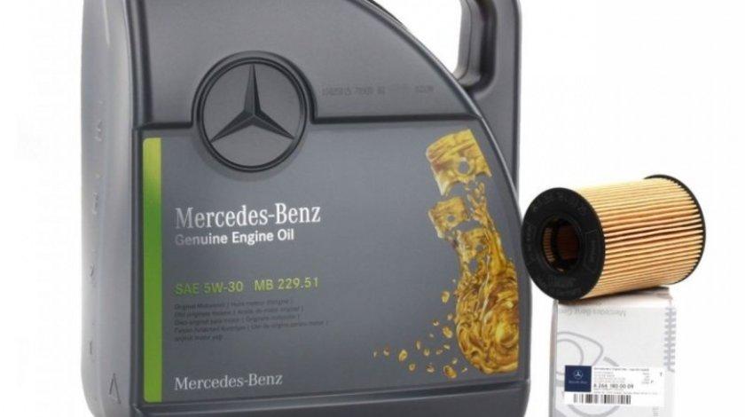 Pachet Revizie Mercedes Ulei Motor Mercedes-Benz 229.51 5W-30 5L + Filtru Ulei Mercedes-Benz A2661800009