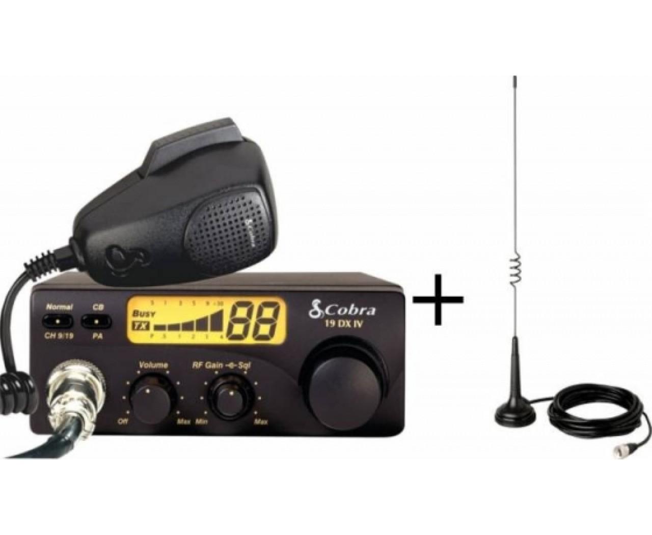 Pachet Statie Radio Auto CB Cobra 19DX + Antena CB Cobra HGA1000, lungime 53.3 cm, baza magnetica