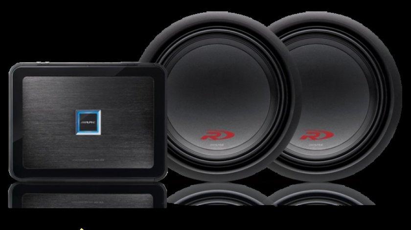 Pachet Super Bass 2 x Subwoofer Alpine SWR 1243D 1600W Amplificator Alpine PDX M12