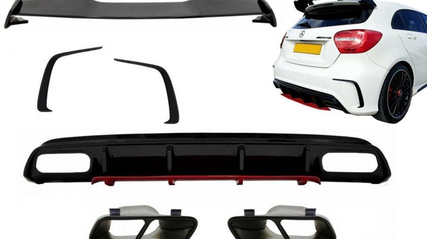 Pachet Tuning MERCEDES W176 A Class (2012-2018) A45 Facelift AMG Design Difuzor / Eleron / Ornamente