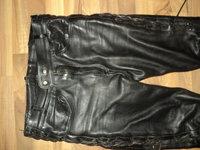 pantaloni moto,rock,chopper,strada din piele naturala cu snur,siret