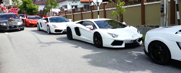 Parada de supermasini la o nunta din Malaezia