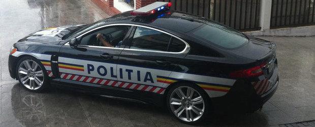 Parcul auto al Politiei Romane s-a imbogatit cu un Jaguar XFR