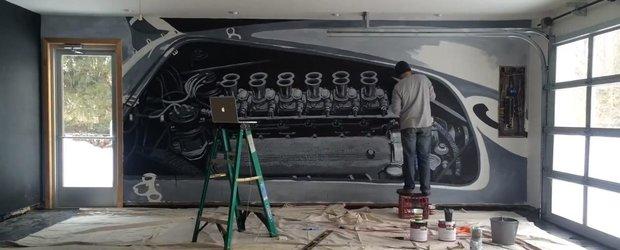 Pasiune auto: un entuziast si-a pus un Ferrari pe peretele garajului