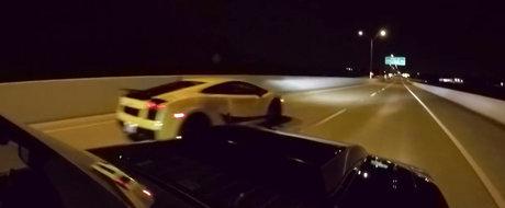 Pazea! Un Mustang si-un Gallardo se intrec intr-o cursa ilegala de 3000 CP!