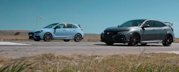 Pe cine pariezi intr-o cursa de acceleratie? Honda Civic Type R sau Hyundai i30 N?