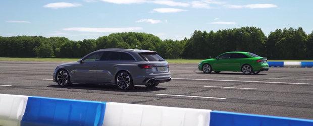 Pe hartie sunt la fel de rapide, insa altfel ar putea sta situatia in lumea reala. Scurta liniuta intre Audi RS3 si RS4 Avant