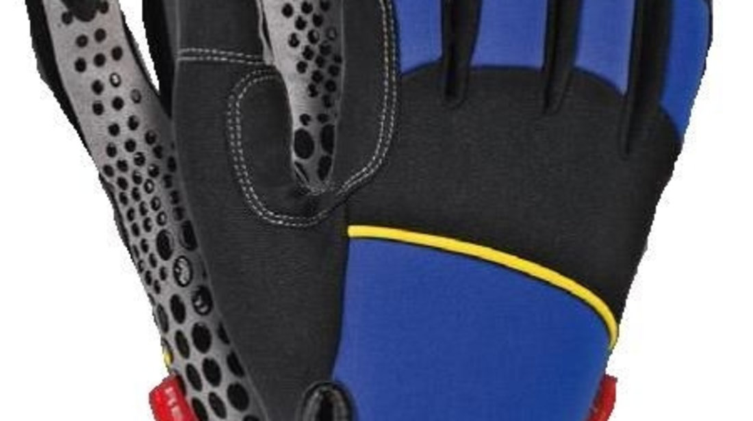 Pereche manusi de protectie ideale mecanica piele moale cu tesatura drapata cu silicon inchidere velcro fluorescenta cod intern: 0XREK201/L/P