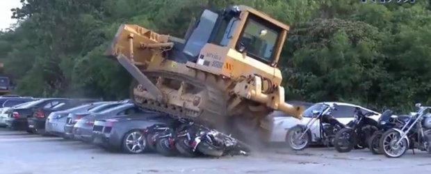 Peste 60 de masini de lux distruse la ordin in Filipine. Printre ele Lamborghini, Porsche, BMW si un SKYLINE