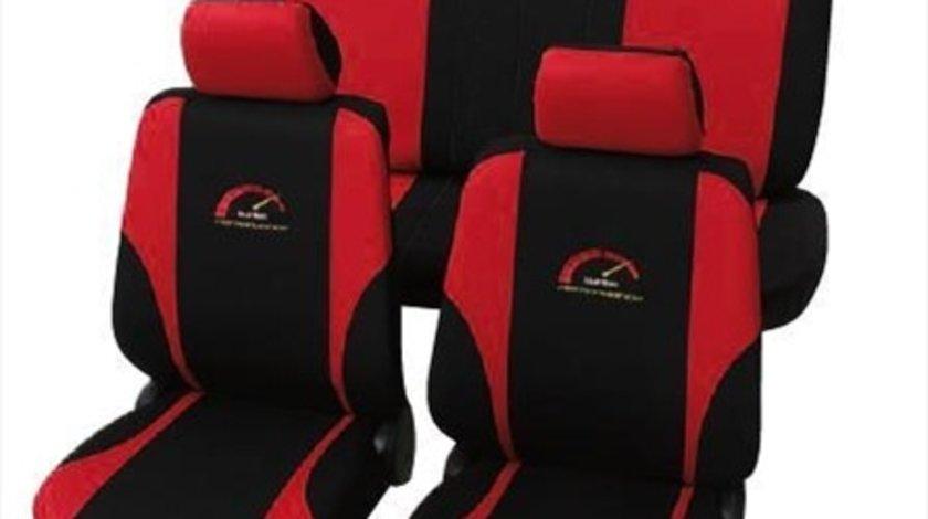 Petex set huse scaune universale rosu cu negru