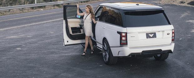Pictorial glamour alaturi de un model feminin si un Range Rover modificat