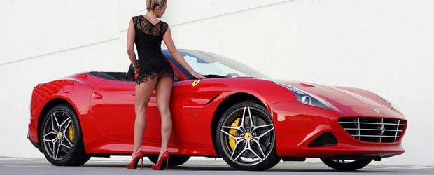 Pictorial sexy, de weekend: Blonda imbracata sumar si Ferrari-ul rosu ca focu'